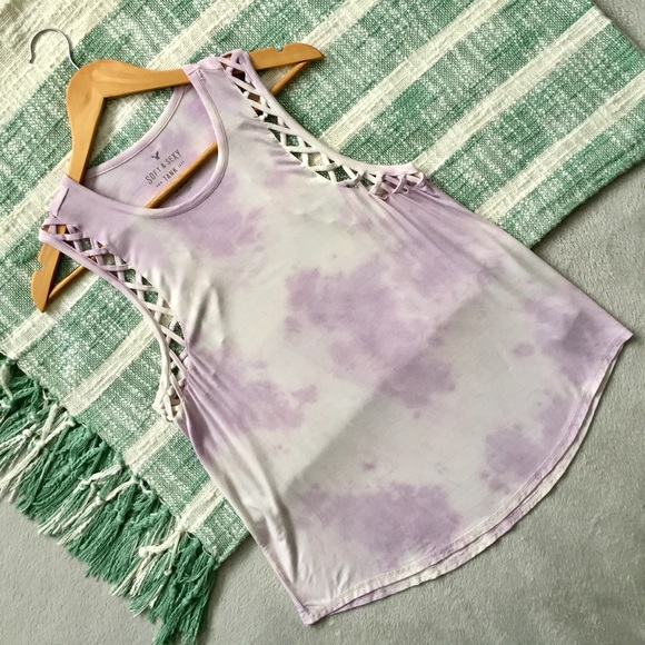 7abd8fa514b American Eagle Outfitters Tops - AEO Soft & Sexy tie dye racerback criss  cross tank